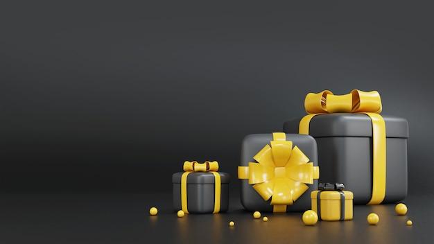 3d rendering confezione regalo nera e gialla per il compleanno