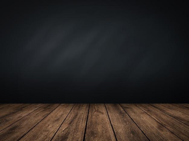 3d rendering lavagna vuota sul pavimento in legno