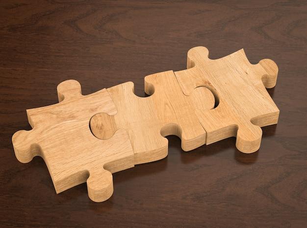 Puzzle marrone vuoto rendering 3d