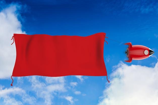 3d rendering bandiera rossa vuota appesa con lo space shuttle