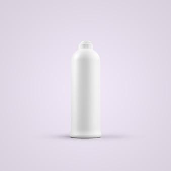 3d che rende la bottiglia di plastica cosmetica bianca vuota con tappo push pull isolato su sfondo grigio. adatto per il tuo design di mockup.