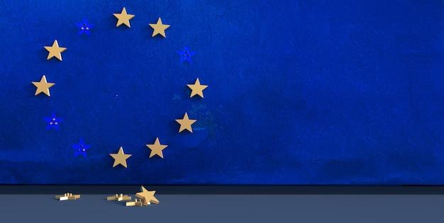 Rendering 3d di uno sfondo blu con stelle dell'ue che cadono