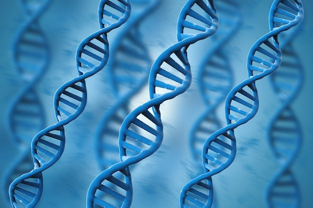 3d che rende le strutture del dna blu su sfondo blu
