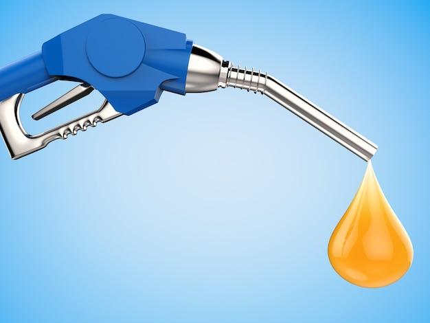 Ugello blu della pompa di benzina della rappresentazione 3d con la goccia di olio