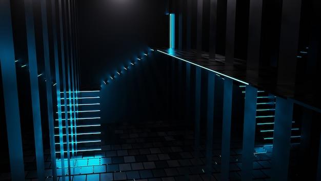 Rendering 3d dei corridoi delle scale con luce al neon blu in una stanza di vetro astratta