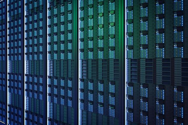 3d che rende la torre del server blu vicino sullo sfondo