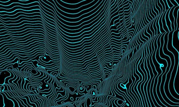 Rendering 3d. linee di contorno topografiche blu. sfondo astratto.