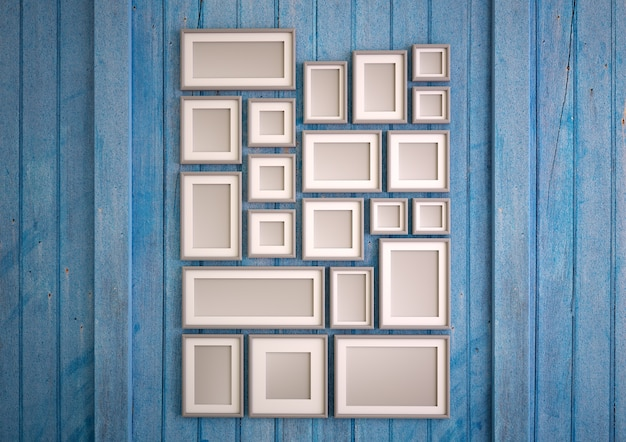 Rendering 3d di una parete in legno blu con una disposizione di cornici mock up