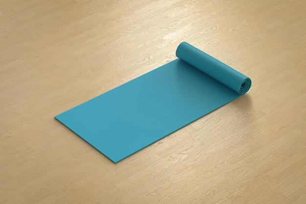 Stuoia di yoga blu della rappresentazione 3d sul pavimento