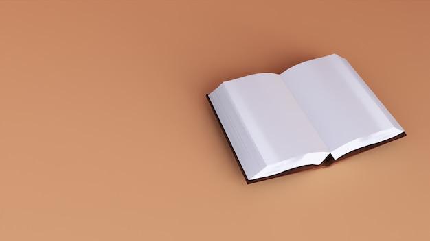 Libro di rendering 3d in sfondo corallo