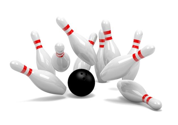 Rappresentazione 3d di un insieme di bowling