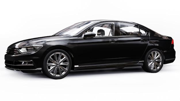 Rendering 3d di un'auto nera generica senza marchio in un ambiente di studio bianco