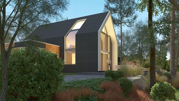 Rendering 3d di una casa moderna e luminosa in un paesaggio naturale