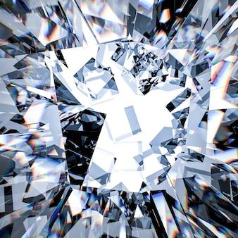 3d che rende lo sfondo di vetro rotto
