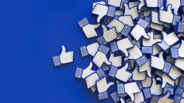 Rendering 3d di un mucchio di icone simili di facebook sull'azzurro