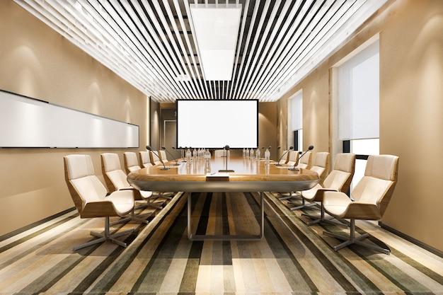 Sala riunioni di lavoro di rendering 3d nell'edificio per uffici