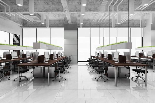 Rendering 3d riunione d'affari e sala di lavoro sull'edificio per uffici