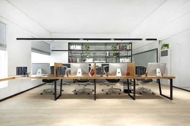 Riunione d'affari di rendering 3d e sala di lavoro su edificio per uffici