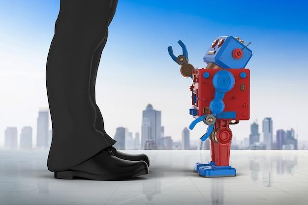 Uomo d'affari della rappresentazione 3d che sta con il robot in città