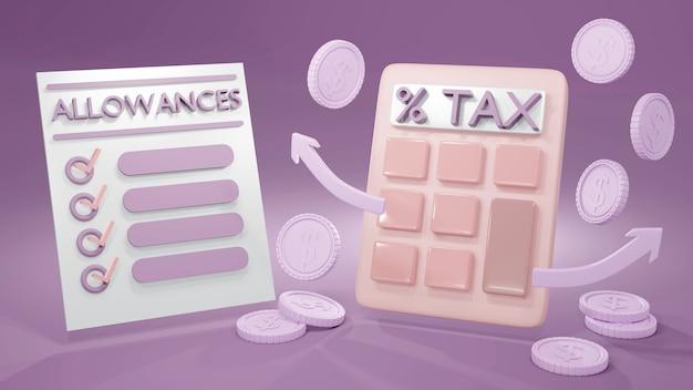 Rendering 3d di una calcolatrice monete e testo concetto di imposta di imposta e indennità elenco in pastello