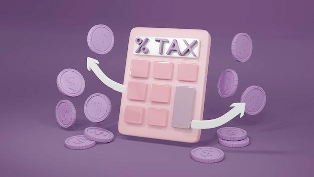 Rendering 3d di una calcolatrice monete e testo concetto di imposta fiscale in pastel