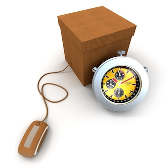 Rendering 3d di una scatola di cartone collegata al mouse di un computer e un cronometro
