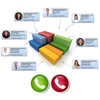 Rendering 3d di contenitori di carico collegati a diversi contatti commerciali che effettuano una chiamata in conferenza