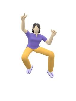 Carattere della rappresentazione 3d di una ragazza asiatica che salta e che balla tenendo le sue mani su. gente felice dei cartoni animati