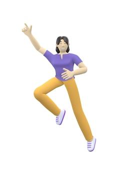 Carattere della rappresentazione 3d di una ragazza asiatica che salta e che balla tenendo le sue mani su.