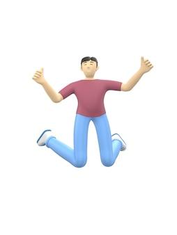 Carattere della rappresentazione 3d di un tipo asiatico che salta e che balla tenendo le sue mani su. gente felice dei cartoni animati