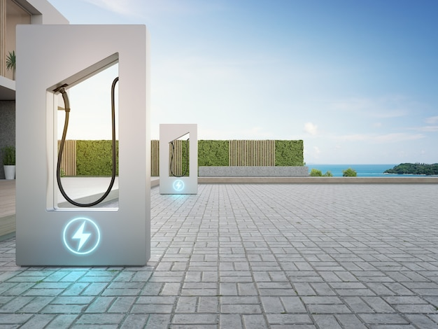 Rendering 3d della stazione di ricarica vicino alla terrazza nella moderna casa intelligente con vista sul mare
