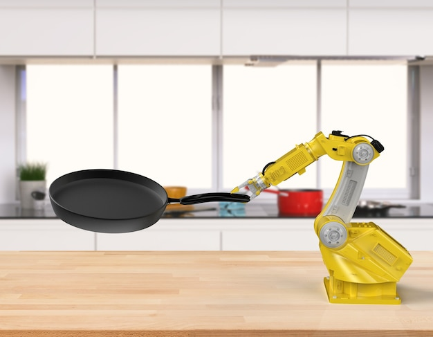 3d rendering chef robot che cucina in cucina