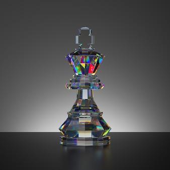 Rendering 3d del pezzo di re di cristallo isolato gioco di scacchi