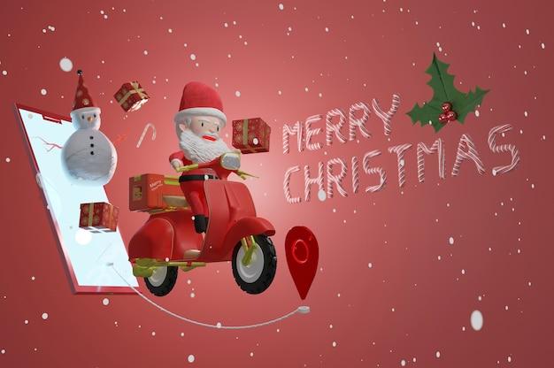 Rendering 3d, biglietto di auguri di natale con babbo natale in sella a scooter e pupazzo di neve con regalo dallo schermo dello smartphone