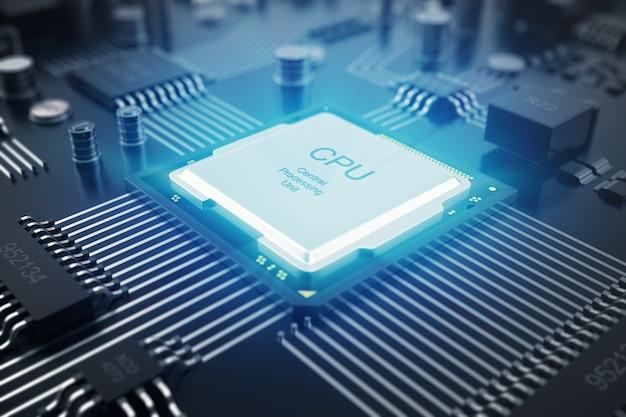 Rendering 3d circuito stampato. tecnologia di fondo. concetto di cpu di processori per computer centrale