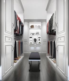 3d che rende la passeggiata di legno bianca classica nell'armadio con il guardaroba