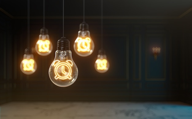 L'icona dell'orologio di rendering 3d si illumina all'interno della lampadina sfondo della foto di copertina premium per post sui social media