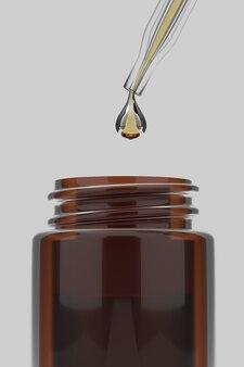 Rendering 3d close up siero di oli essenziali con gocce d'acqua per la bottiglia su bianco