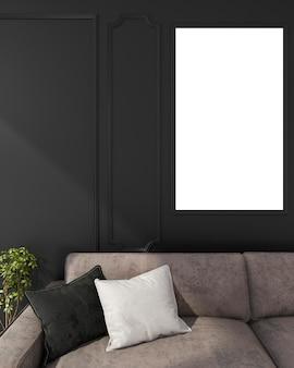 Derisione alta vicina della rappresentazione 3d sul sofà vivente vicino alla parete
