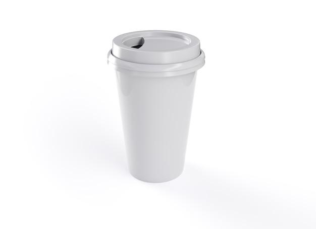 3d rendering tazza da caffè con sfondo bianco
