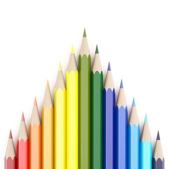 Rendering 3d di matite colorate su sfondo bianco