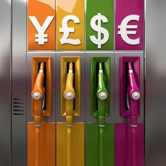 Rendering 3d di pompe di carburante colorate con simboli di valuta