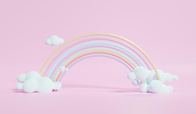 Rendering 3d di nuvole pastello colorate e arcobaleno