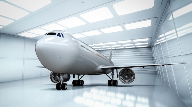 Rendering 3d aereo commerciale in hangar bianco e lucido