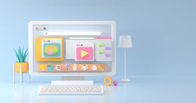 Rendering 3d di mockup di computer e icona sociale.