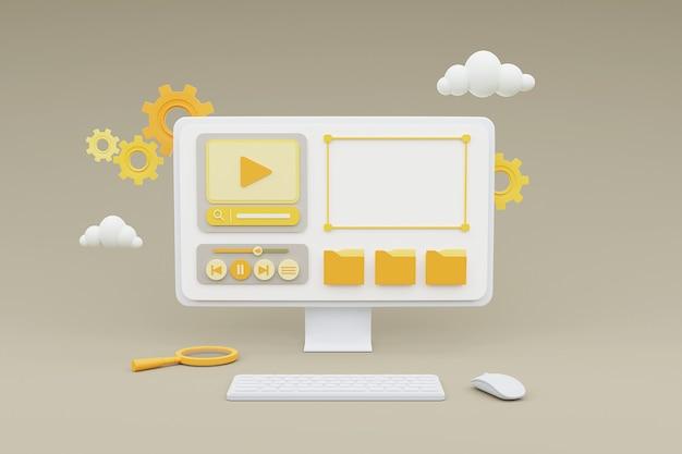 Rendering 3d di computer che mostra il concetto di gestione dei contenuti multimediali su sfondo grigio.