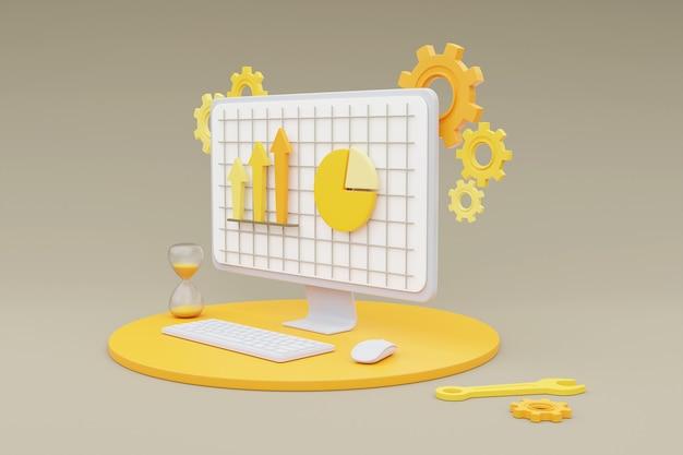 Rendering 3d del computer che mostra lo sviluppo web con forme 3d, grafico a torta, grafico a barre, infografica.