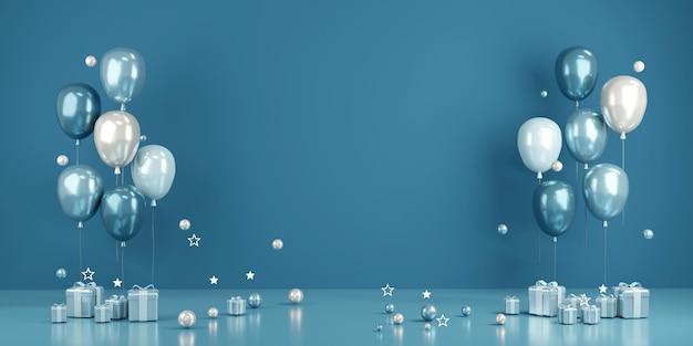 Concetto di rendering 3d del fondo dell'evento della festa di nozze di san valentino di compleanno o per la pubblicità in palloncini a tema blu con parete bianca sullo sfondo. rendering 3d.