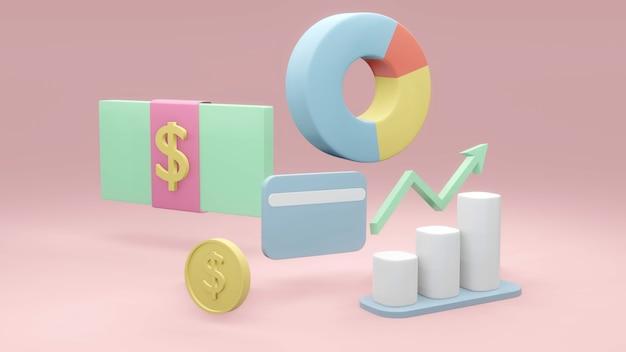 Concetto di rendering 3d delle icone di pianificazione finanziaria della gestione degli investimenti di denaro