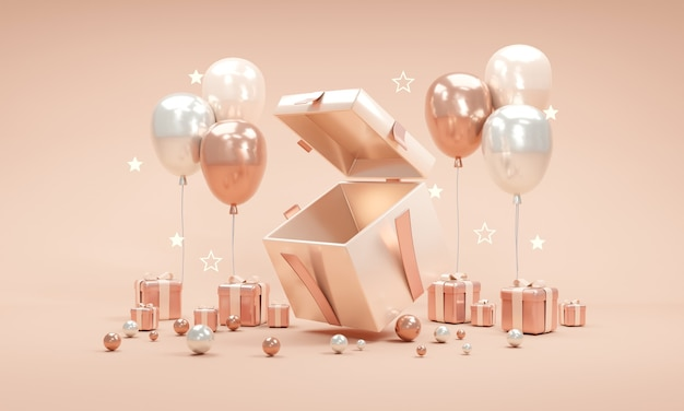 Il concetto di rendering 3d della scatola attuale si apre mostra uno spazio vuoto all'interno con stelle di palloncini regali